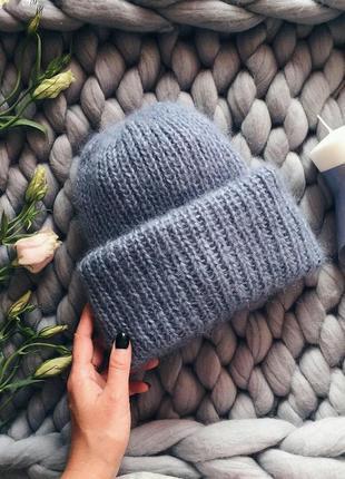 Теплая шапка из мохера♥