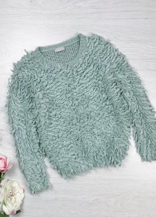 Пушистый мятный свитер кофта тедди