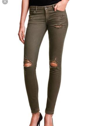 Рваные джинсы скинни цвет хаки размеры 29,31,332 фото