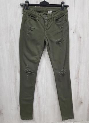 Рваные джинсы скинни цвет хаки размеры 29,31,333 фото