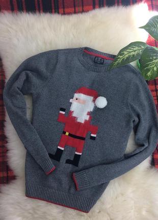 Мужской новогодний серый свитер с санта клаусом
