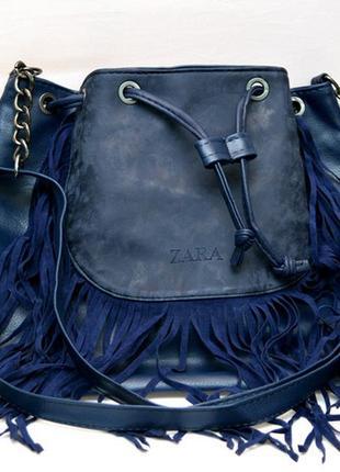 Женская модная стильная сумка синяя бахрома