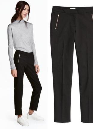 Черные узкие брюки hm 32.xxs,черные класические брюки hm