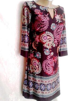 Струящаяся малиновая платье -туника трикотажная, м.1 фото