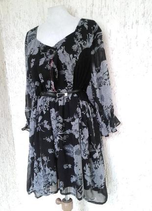 Крепдешиновое серо- черное платье - туника , 4xl -6xl /one size .