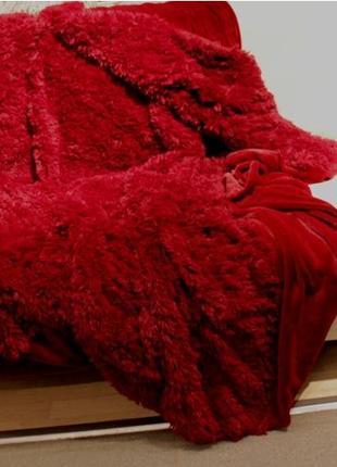 """Меховой плед-покрывало """"травка"""" с длинным ворсом 220х240 """"красный"""""""