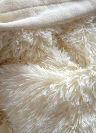"""Меховой плед-покрывало """"травка"""" с длинным ворсом 220х240 """"молочный"""""""