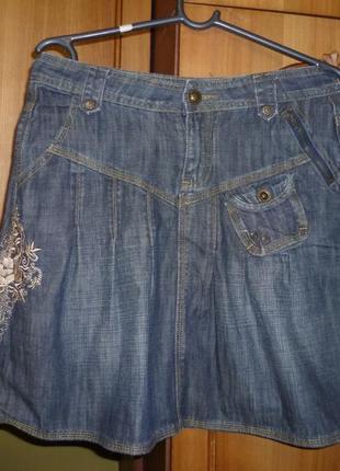 Джинсовая демисезонная юбка-мини с вышивкой № uno,осень-зима-весна в идеале