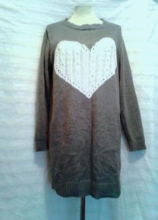 Тонкий серый джемпер-туника с сердечком, xl -xxl3 фото