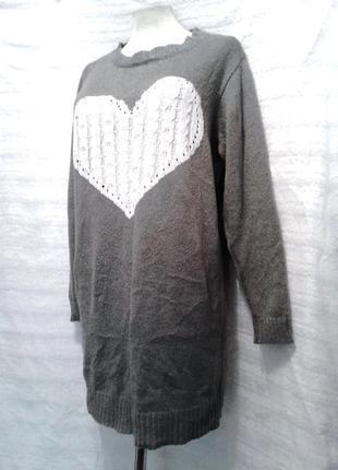 Тонкий серый джемпер-туника с сердечком, xl -xxl2 фото