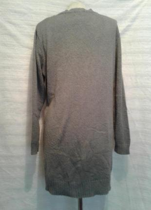 Тонкий серый джемпер-туника с сердечком, xl -xxl4 фото