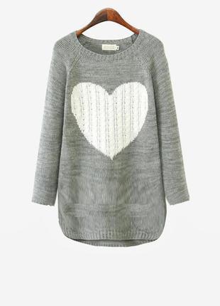 Тонкий серый джемпер-туника с сердечком, xl -xxl