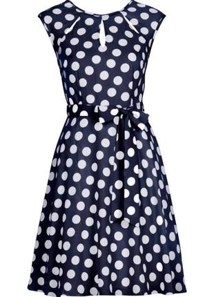 Синее платье в белый горошек wallis