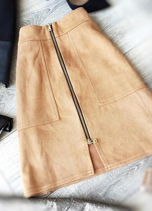 Новая стильная юбка с замком спереди и карманами river island