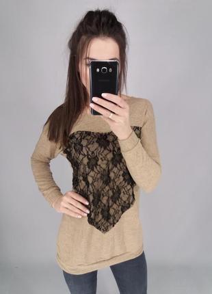 Туника свитер с ажурным сердцем