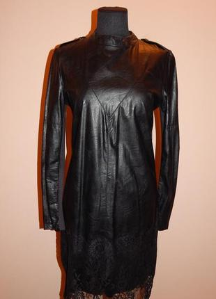 Шикарное кожаное платье италия