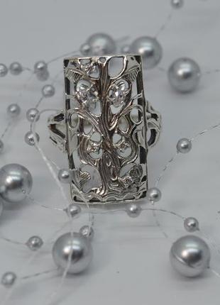 Серебряное кольцо, #оберег, #дерево, #дуб, #белые камни, #925, 20,5р-р