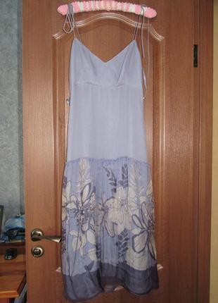 Роскошный фиалковый сарафан платье  миди из натурального шелка от moonsoon р.8 s.