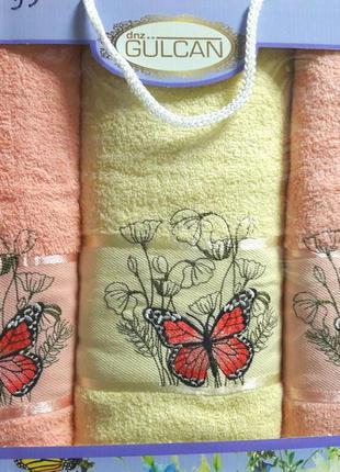 Подарочный набор  из 3х полотенец 100% хлопок турция ae cotton