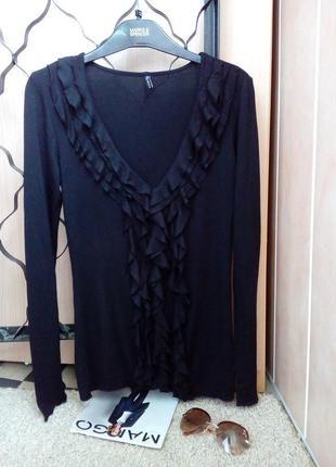 Amisu модная кофточка/джемпер/лонгслив черного цвета с воланами s-m