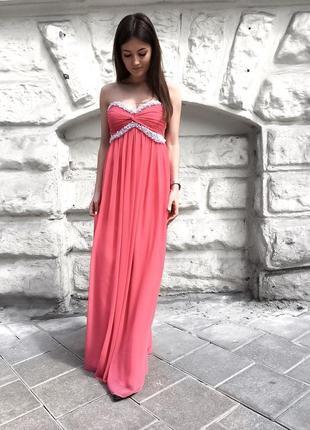 Елегантна довга коралова сукня від only trend.