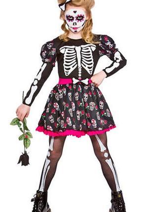 Карнавальный костюм,платье девочки-скелета от wicked  costumes ,8-10 лет