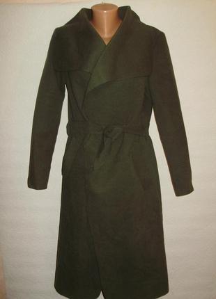 Распродажа!стильное эко_кашемировое пальто на запах цвета хаки  l/xl/46-48 размера
