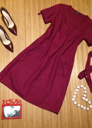 Стильное льняное платье,размер l