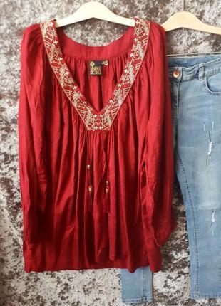 Хлопковый блузон / блуза с вышивкой / туника