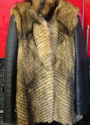 Меховая куртка - трасформер (рукава полностью отстегиваются)