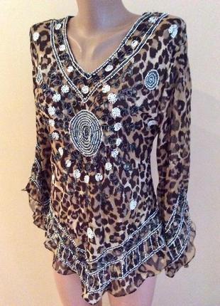 Очень красивая  блуза ручная вышивка бисером, леопардовый принт