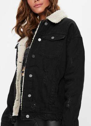 Шерпа/утеплённая джинсовая куртка от missguided