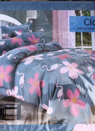 Двухспальный евро комплект постельного белья из фланель (байка)