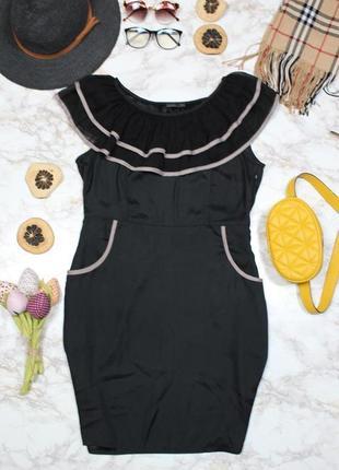 Обнова! платье черное с волнами рюшами коктейльное vero moda