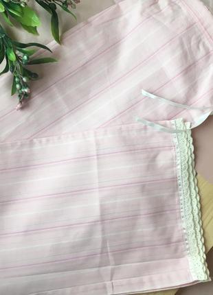 Пижамные штаны брюки хлопок розовые на резинке