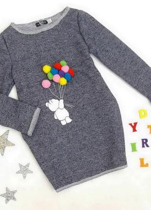 Нарядное дизайнерское платье-туника с медвежонком на 3-7 лет