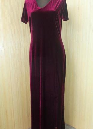 Вечернее платье велюр с рукавом цвет бордо m/l