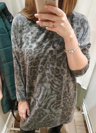 Платье, туника оверсайз, леопардовый принт