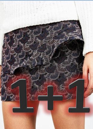 Обнова! жаккардовая тёплая юбка с рюшами воланом новая bershka