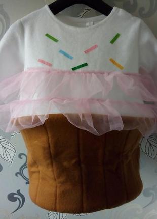 Новогодний новорічний карновальный костюм на утренник девочка кексик, пироженка
