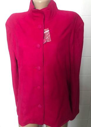 Куртка пиджак курточка как новая натуральная замша испания р.50-52 малиновая