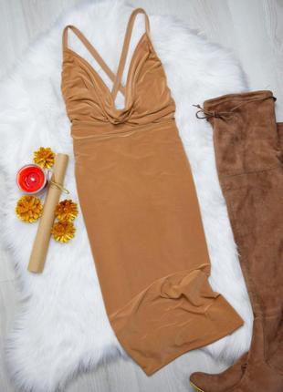 Бежевое миди платье кемел открытая спинка глубокое декольте