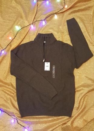 Кофта свитер с молнией и имитацией заплаток на локте celio
