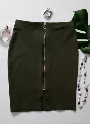 Юбка карандаш, юбка футляр на молнии спереди, юбка цвета хаки