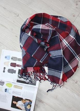Шикарный шарф в клетку обьемный длинный теплый красный черный