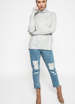Теплый серый свитер водолазка хс