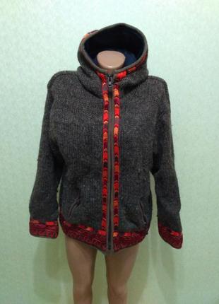 Супер теплая 100% шерсть + флис кофта, как курточка