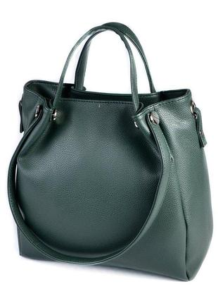 Зеленая сумка шоппер на плечо матовая с двойными ручками