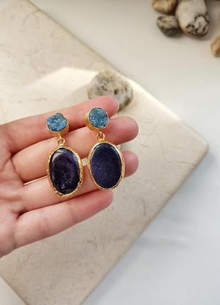 Вау! шикарные серьги с голубым кварцем и натуральным аметистом, ручная работа