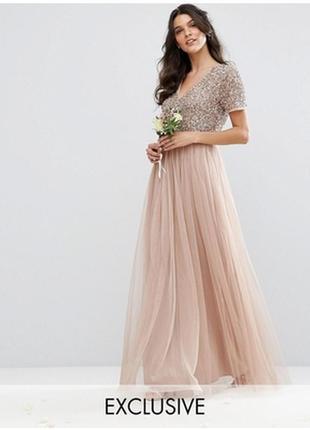 Шикарная нарядная нюдовая персиковая фатиновая юбка макси с пайетками maya deluxe by asos